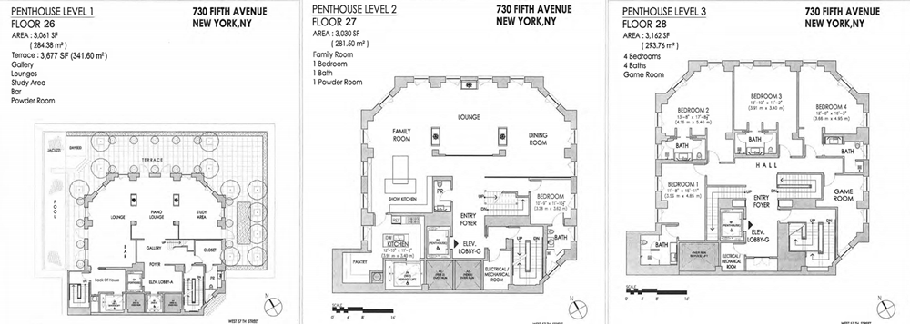Floor Plans For | Penthouse Floorplans For Midtown S Crown Building Include Two