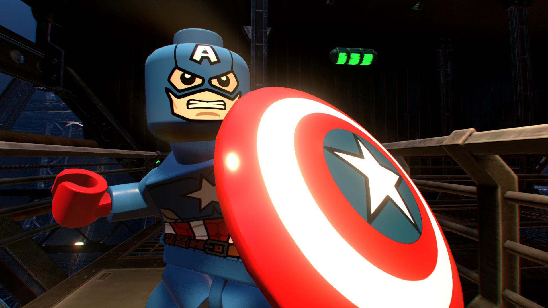 Captain America wields his shield in Lego Marvel Super Heroes 2.