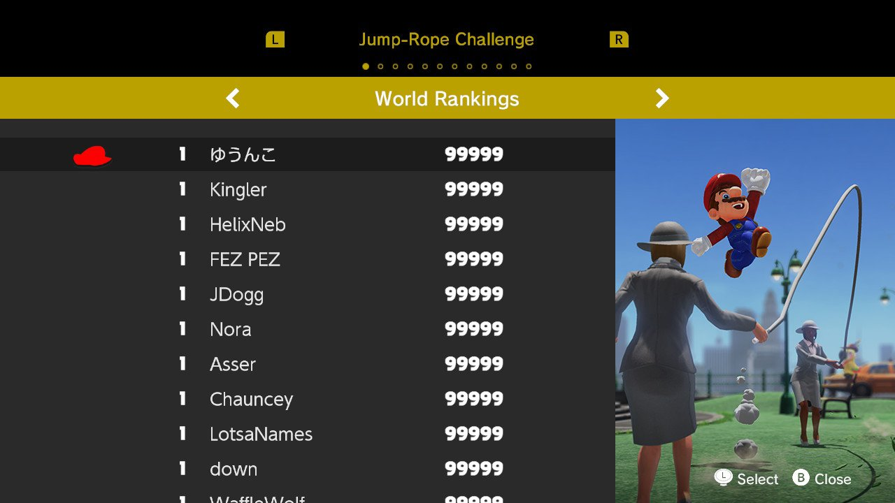 Super Mario Odyssey - Jump-Rope Challenge leaderboard with top scores of 99,999