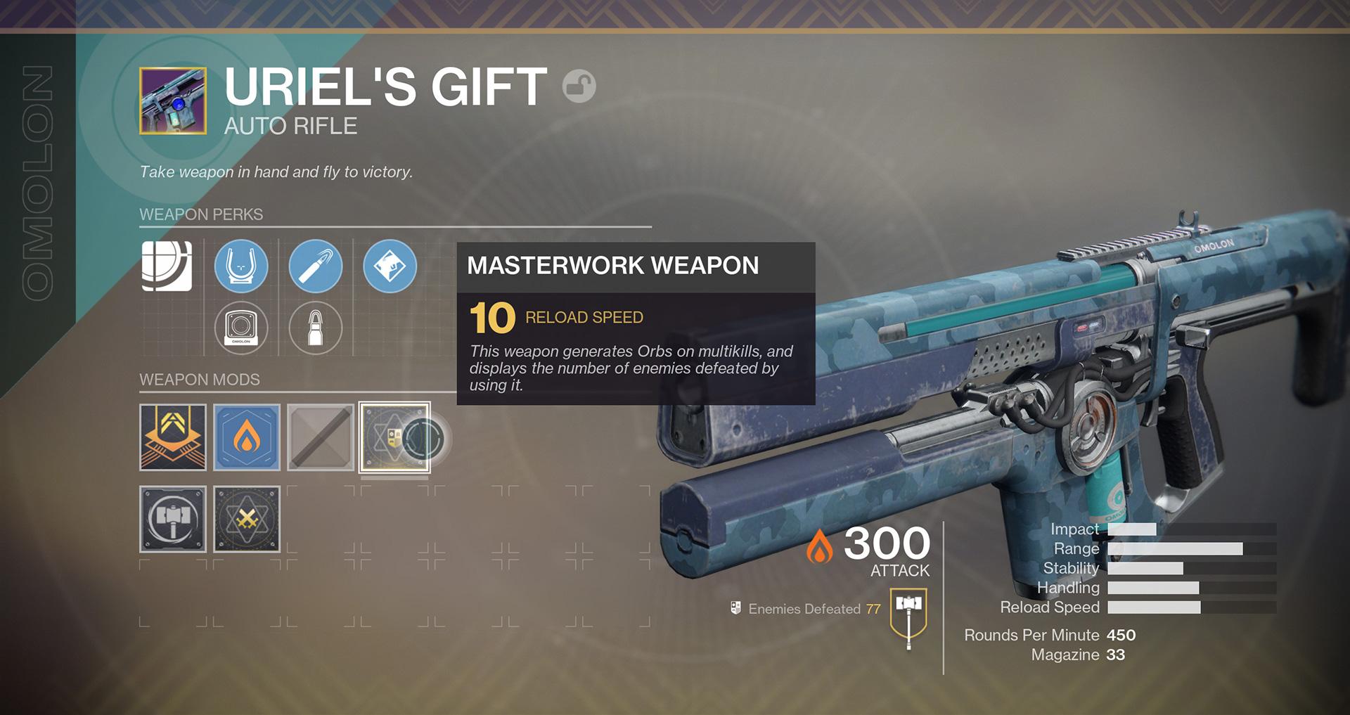 Destiny 2 - Masterwork version of Uriel's Gift