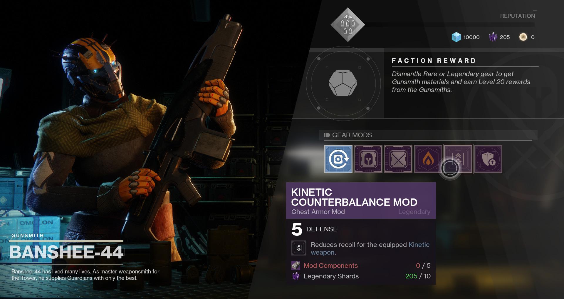 Destiny 2 - Banshee-44 selling kinetic mod