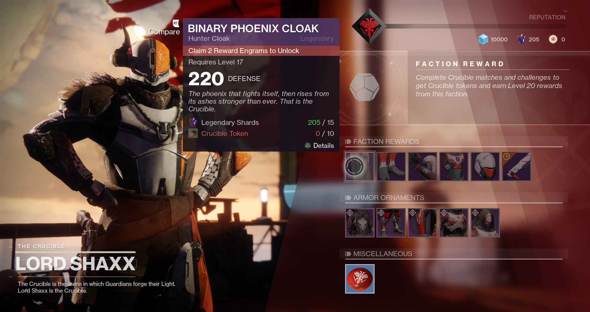 Destiny 2 - Lord Shaxx's inventory of Crucible weapons and armor