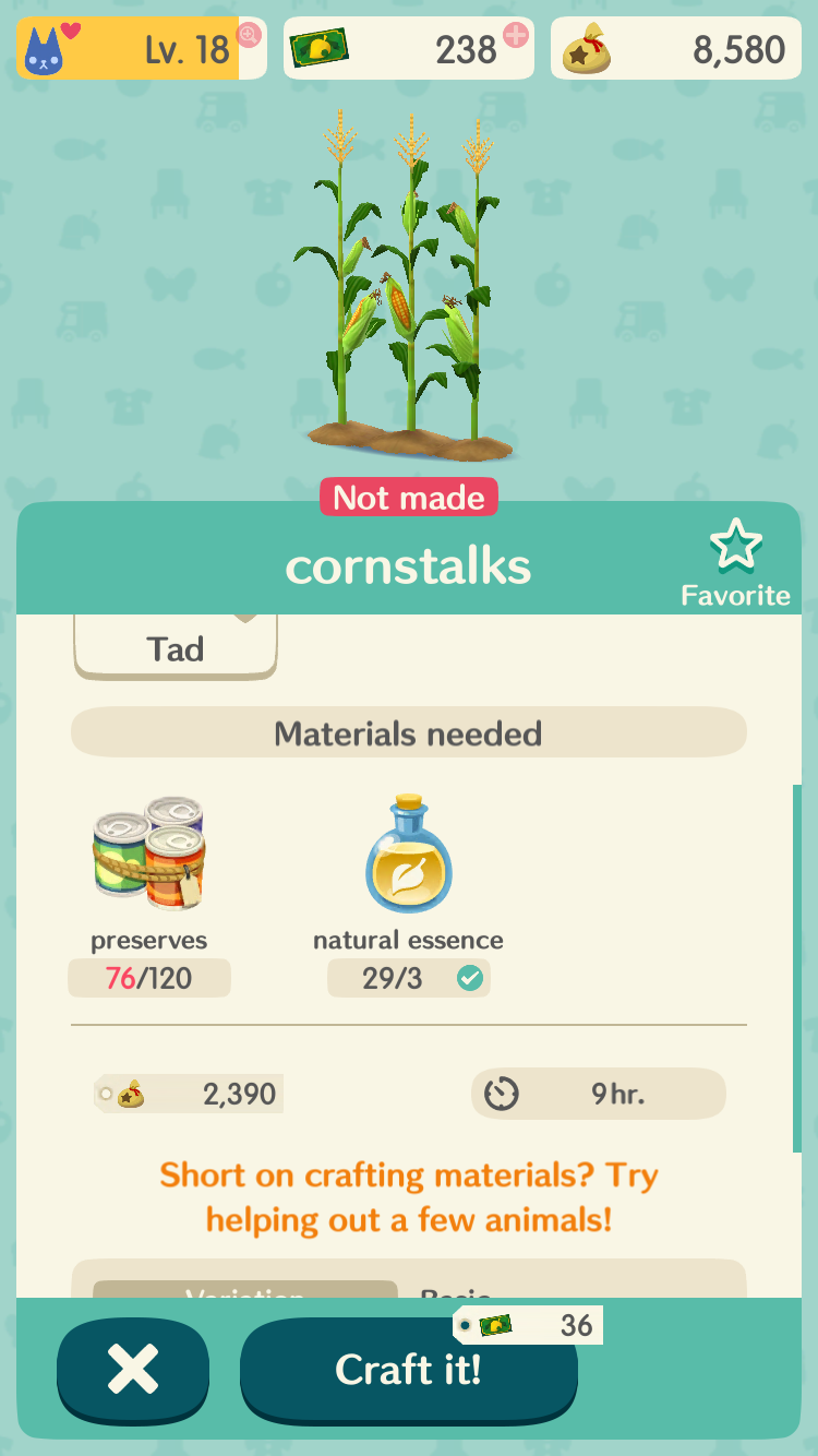 the cost of corn in animal crossing: pocket camp