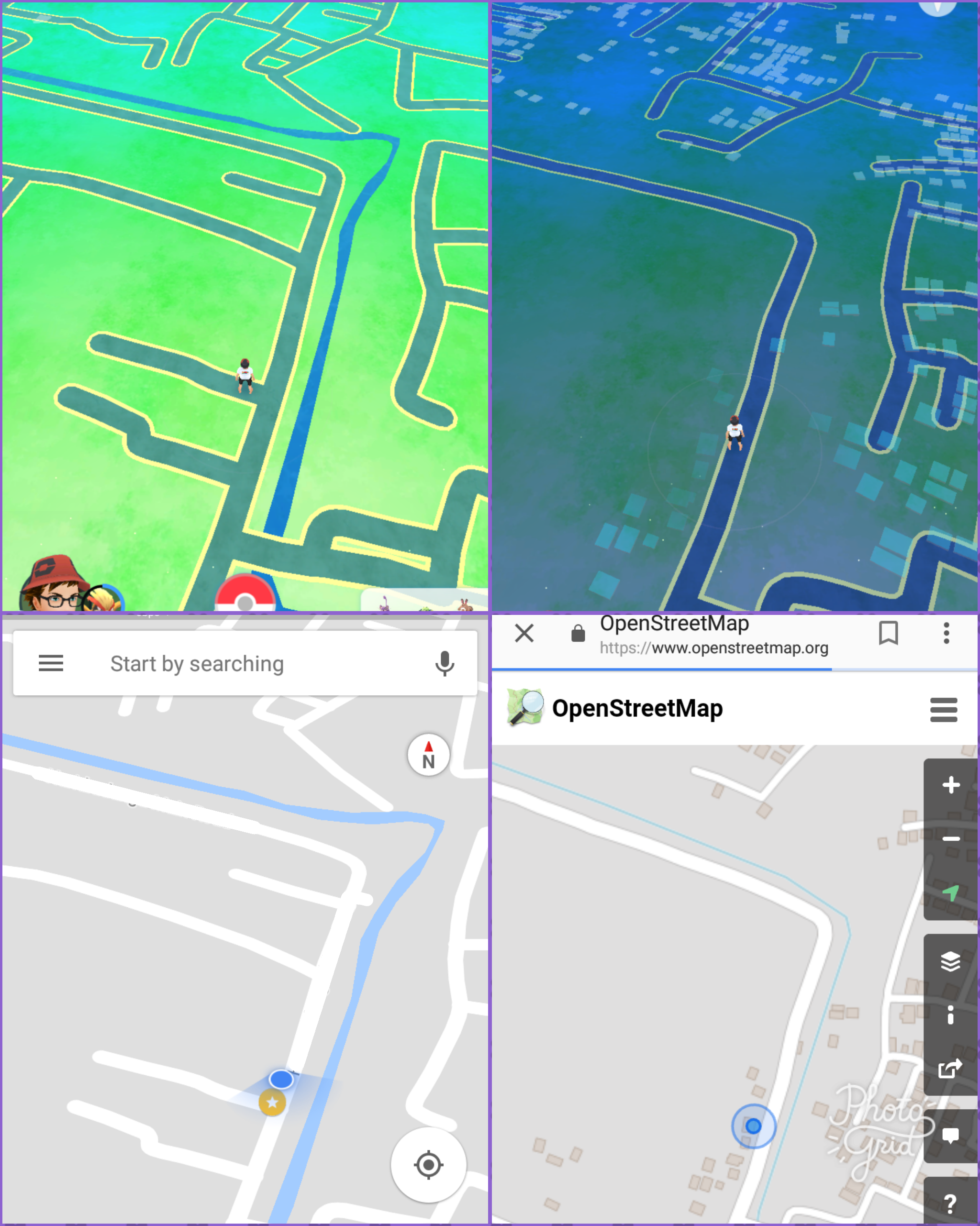 a visual comparison between the google maps api and openstreetmaps dataused by pokémon go. pokémon go's maps now look a lot different  polygon