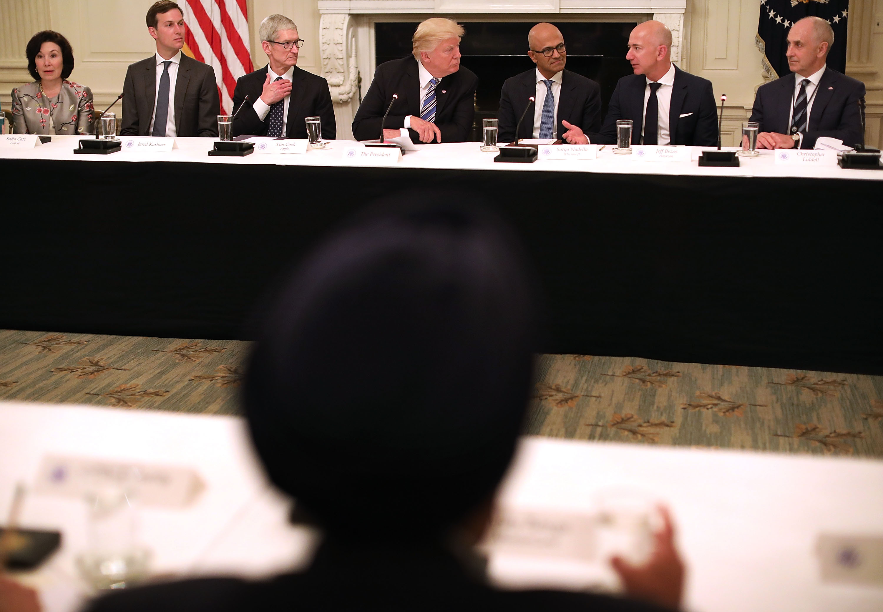 President Trump's American Technology Council Roundtable with Oracle's Safra Catz, Apple's Tim Cook, Microsoft's Satya Nadella and Amazon's Jeff Bezos, among others.