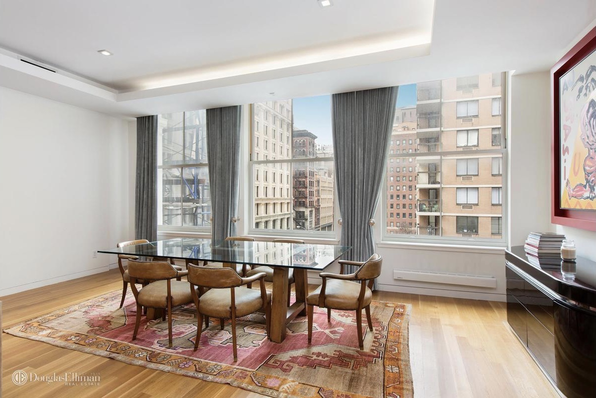 two closets along with an incredibly fancy bathroom it comes  for  example  with a built in television  The lower level has two smaller  bedrooms. For  6M  a contemporary Noho penthouse with Paris Hilton as a