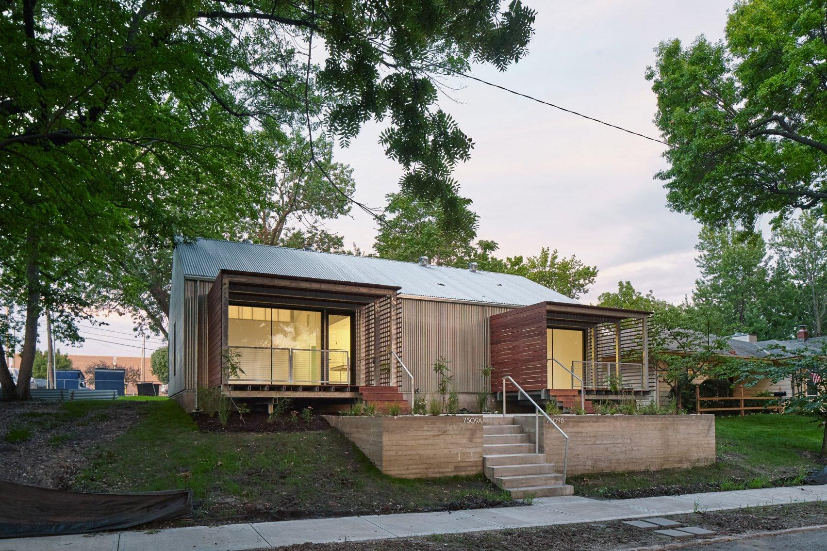 Architecture students build modern duplex for low income for Cheap duplex plans