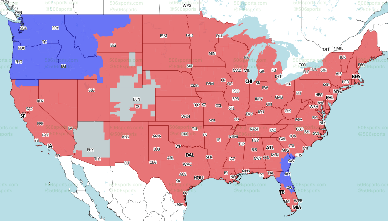 Eagles-Rams game TV coverage map - Bleeding Green Nation on cartography of the united states, geographic information system, contour line, map projection, satellite imagery, early world maps, geographic coordinate system,