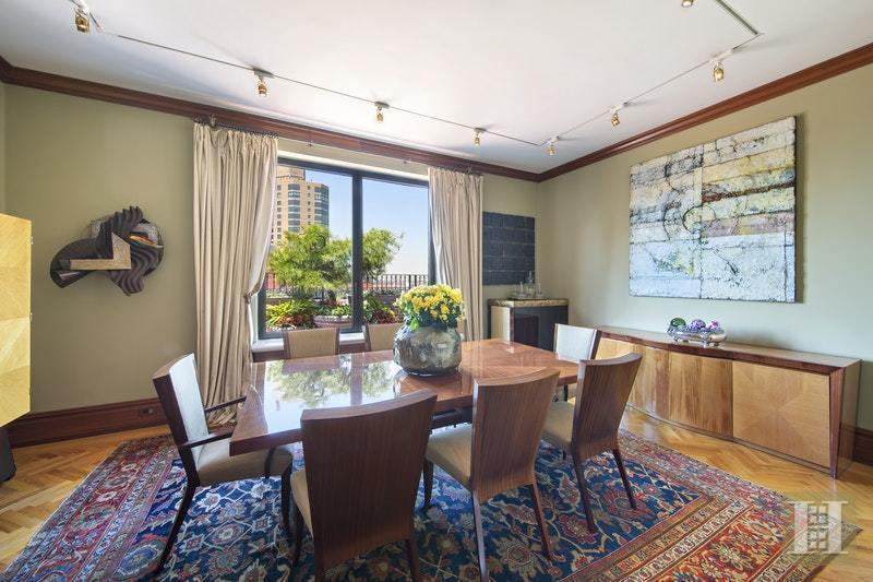 Details Throughout The Apartment Include Floor To Ceiling Bookcases A Wood Burning Fireplace And Double Door Access Terrace Formal Dining Room