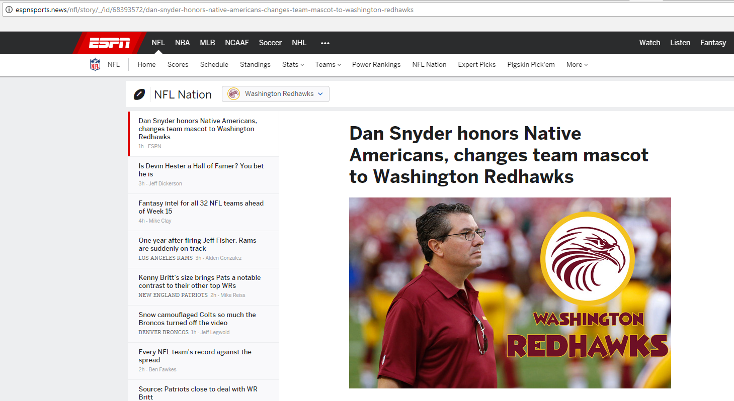Hoax Websites Claim Washington Redskins Will Change Name To Redhawks
