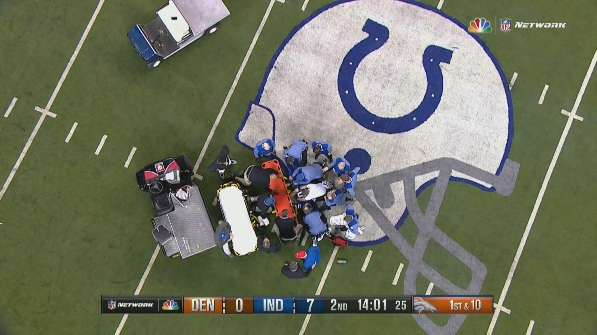 Colts lead Broncos 10-7 at halftime