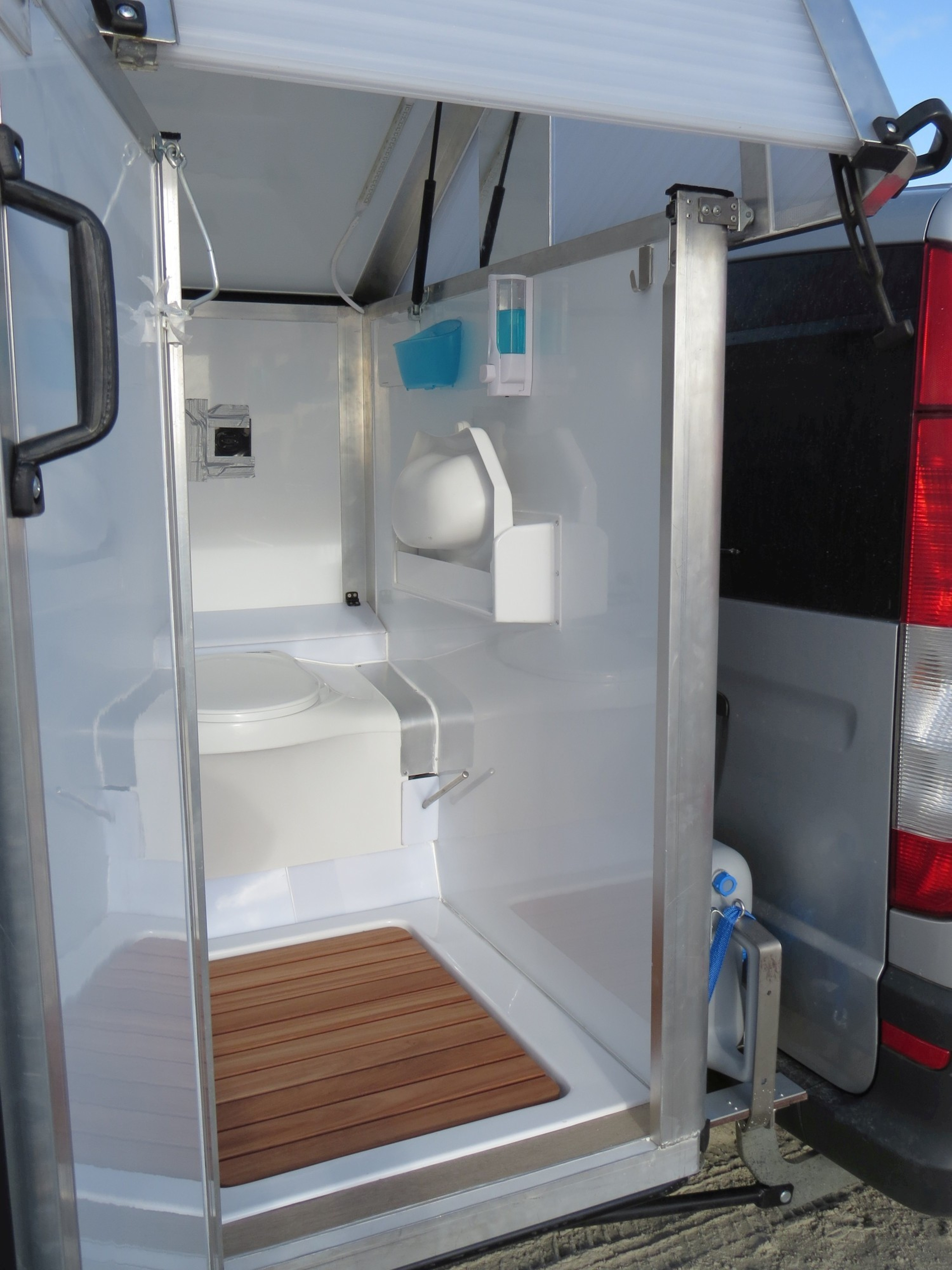 Bath2Go Outhouse Hitches To The Back Of Your Camper