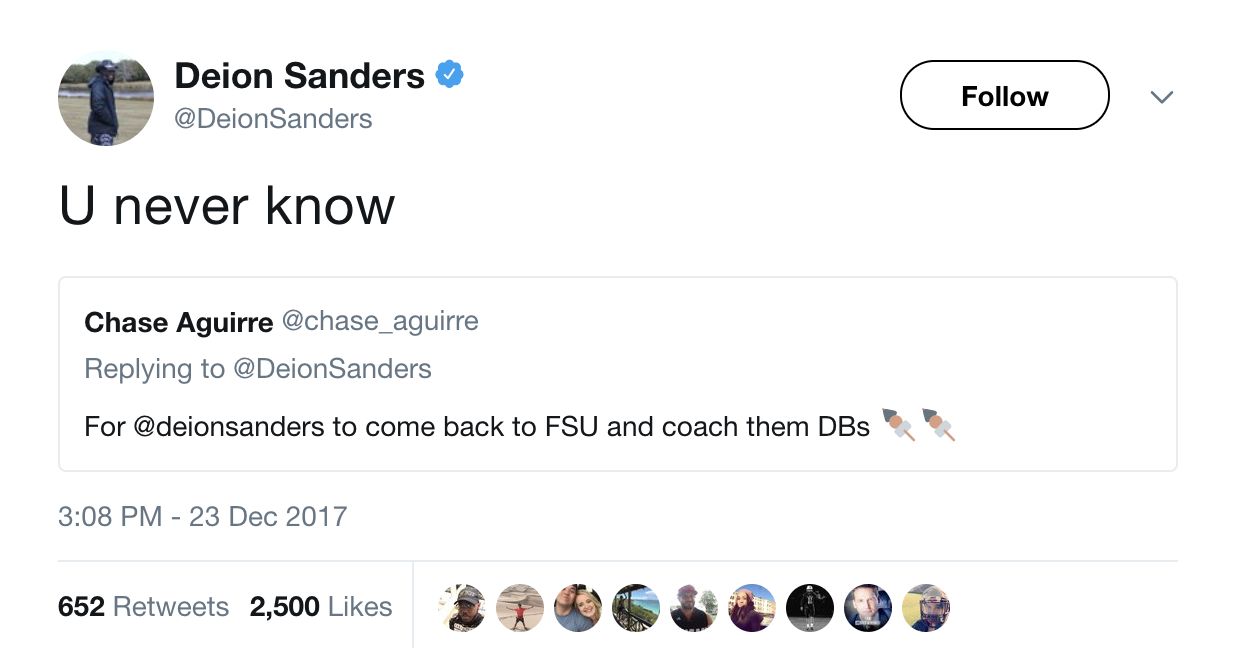 Deion Sanders Comments On FSU Job Speculation On ESPN