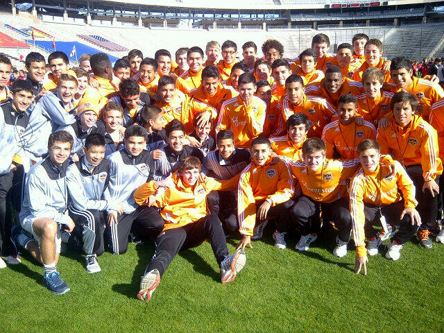 Dynamo Academy players in the Cotton Bowl (via Twitter)