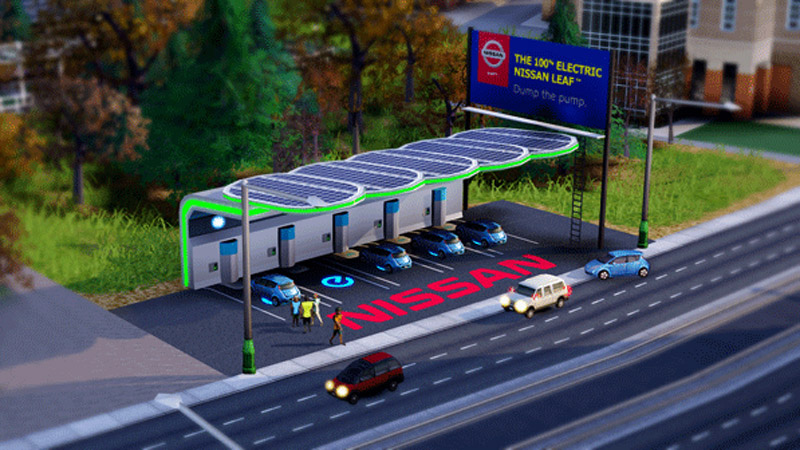 EA adds sponsored items to SimCity with Nissan Leaf electric cars, charging station