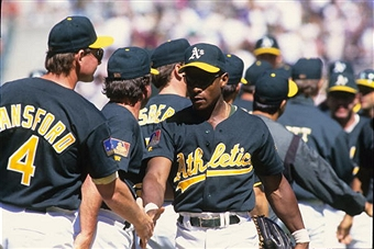 One of these guys stole a base on April 6, 1983. (It's not the one facing the camera).