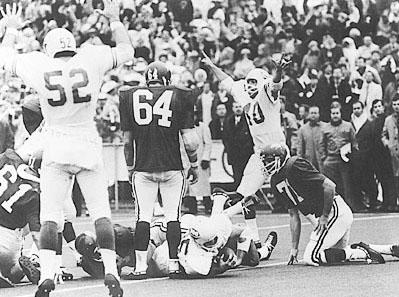 Texas's Jim Bertelsen's crosses the goal line for the score that sealed the Longhorn's victory over Arkansas in 1969.