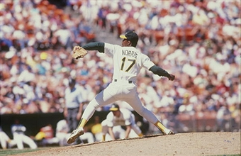 Mike Norris pitches in a game for the A's in 1990.