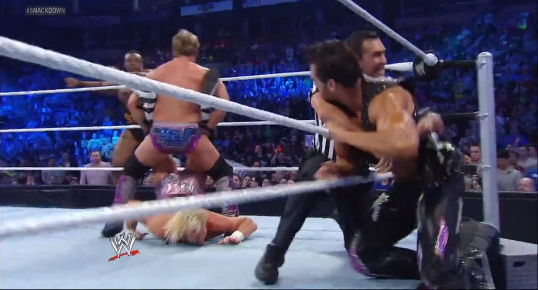[from lt to rt] Big E Langston, Jericho, Dolph Ziggler (C), Ref, Fandango   WWE SmackDown Fallout Show (Apr.12)