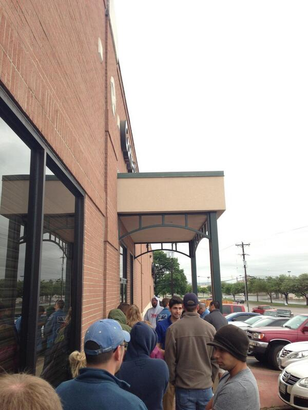 The line for blood donations this morning at Carter Bloodcare.