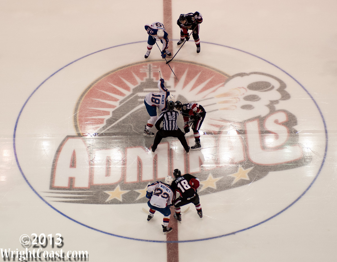 Admirals at Scope Center Ice for a Faceoff.