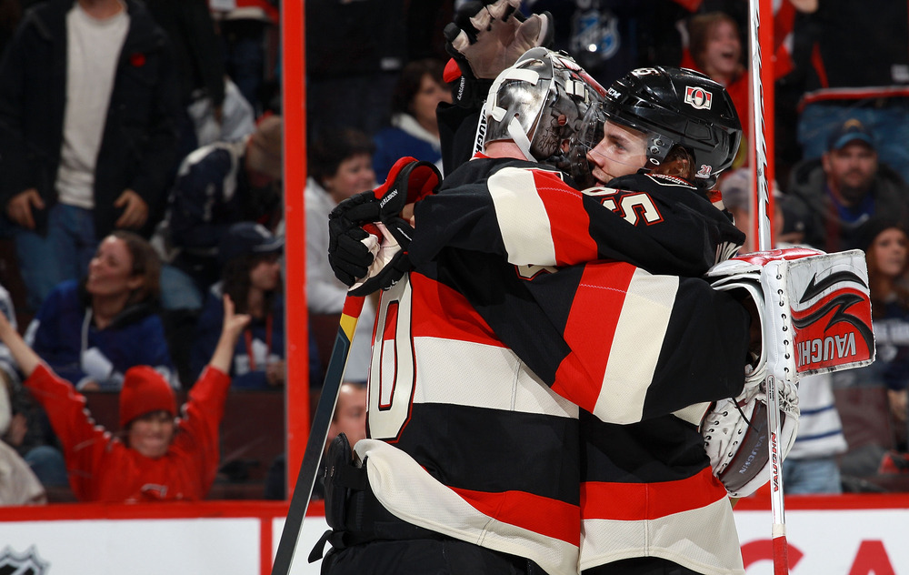 Neither of these players are playing tonight. But Karlsson/Lehner hug!