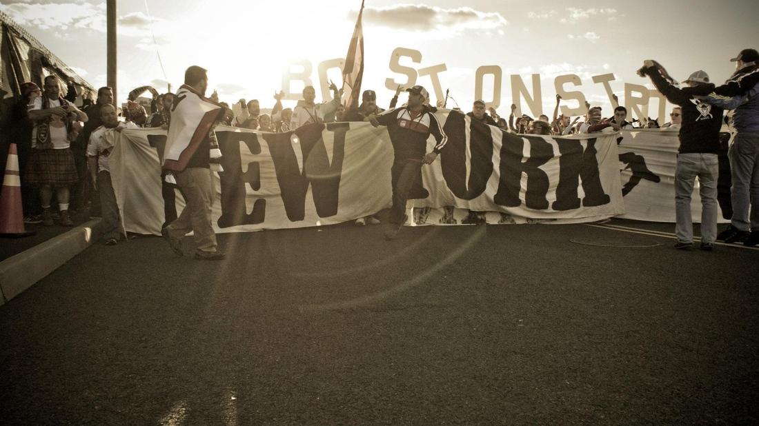 HARRISON NJ:  Revolution and Red Bull supporters unite before Saturday's match.