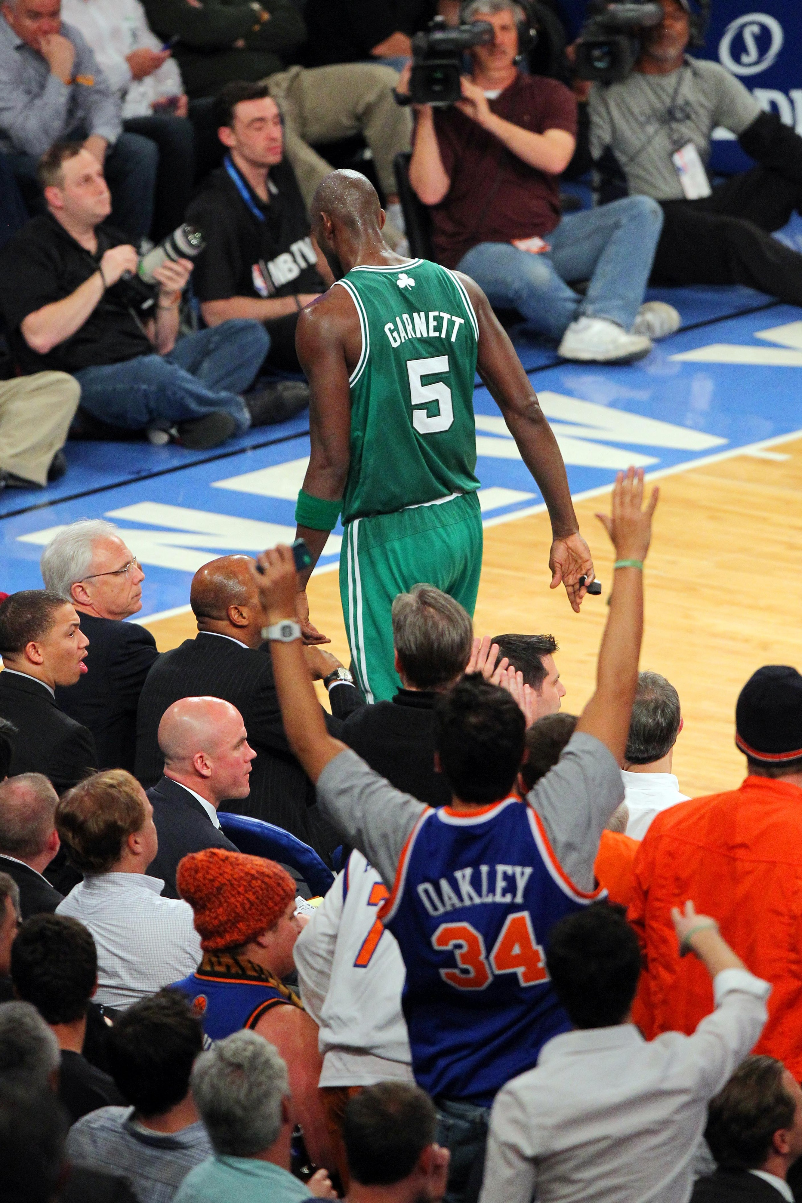 KG walks to the bench after picking up his fifth foul.