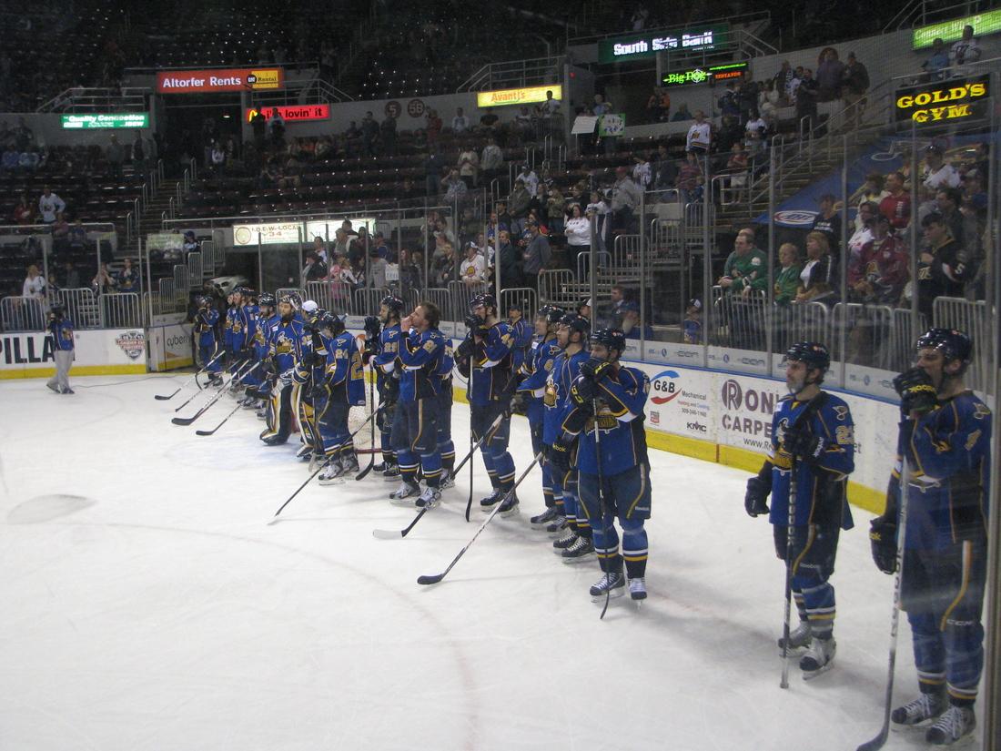 The Peoria Rivermen await their last salute to their fans.