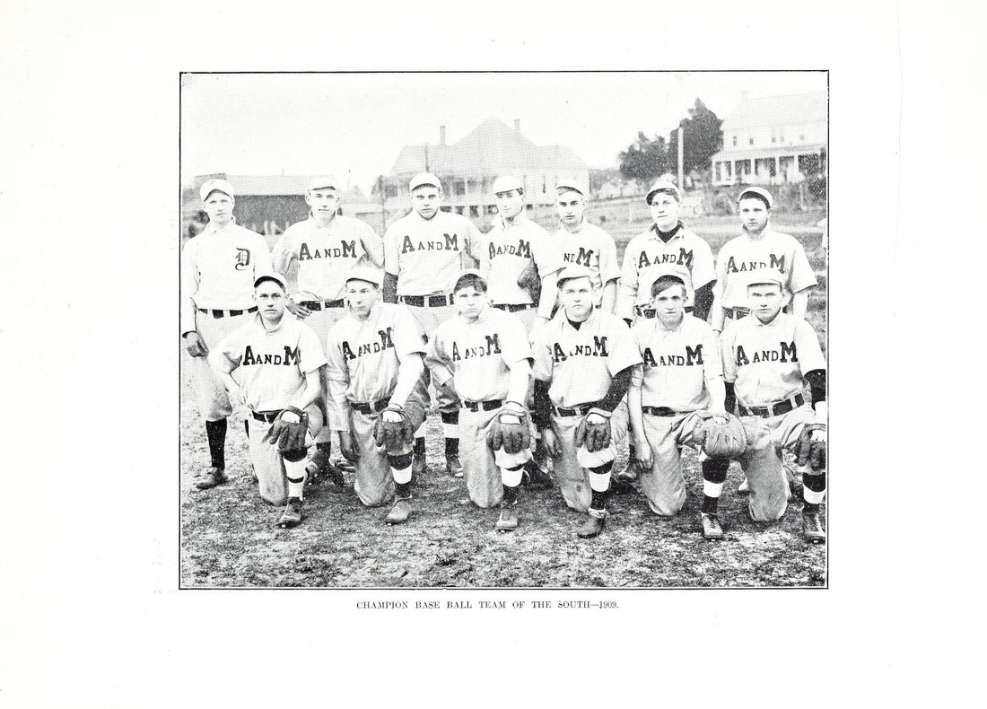 The 1909 Mississippi A&M Maroons, with Mitchell pictured front row, first from the left