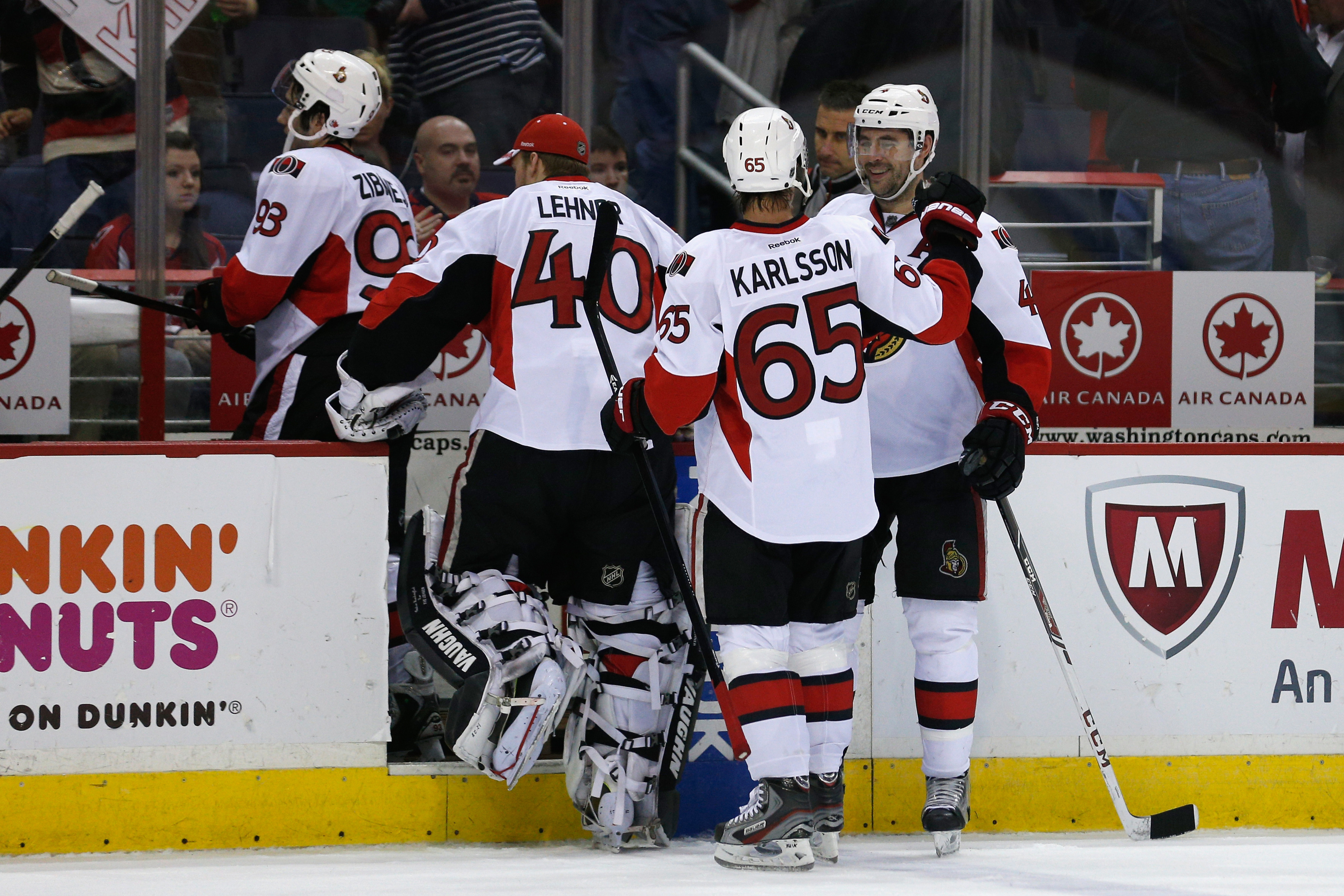 No one does the post-win fist bump like Chris Phillips.