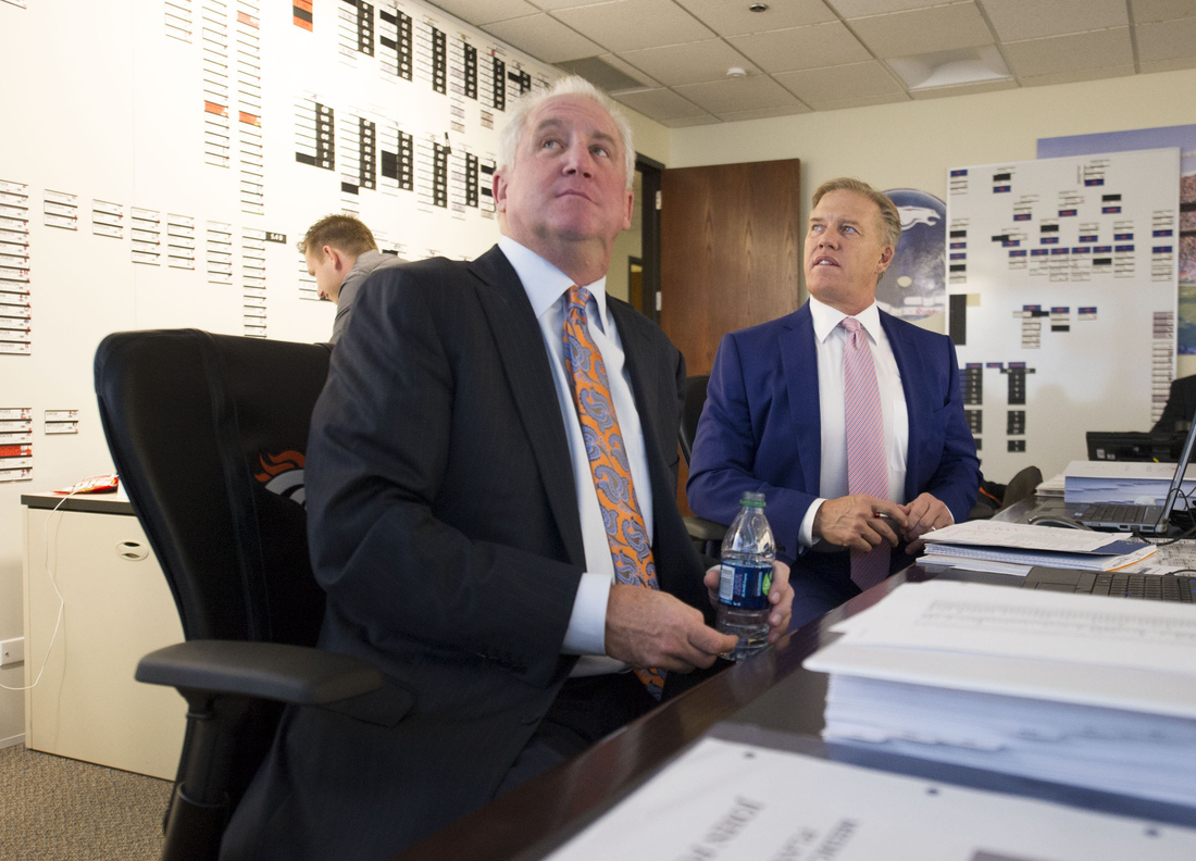 John Fox and John Elway in the Broncos war room during the 2013 NFL Draft