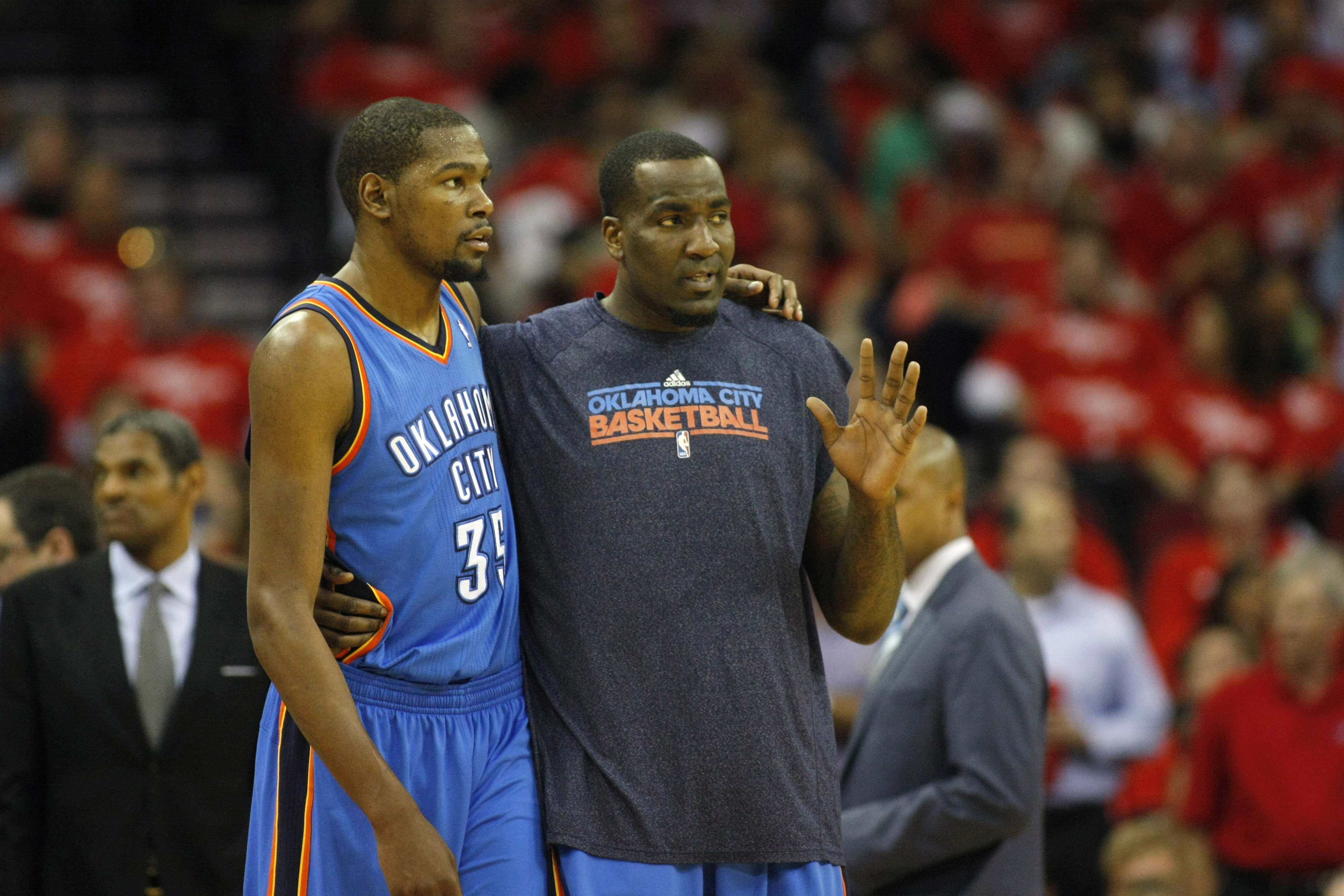 Kendrick Perkins offered advice, but not much else on the court last night.