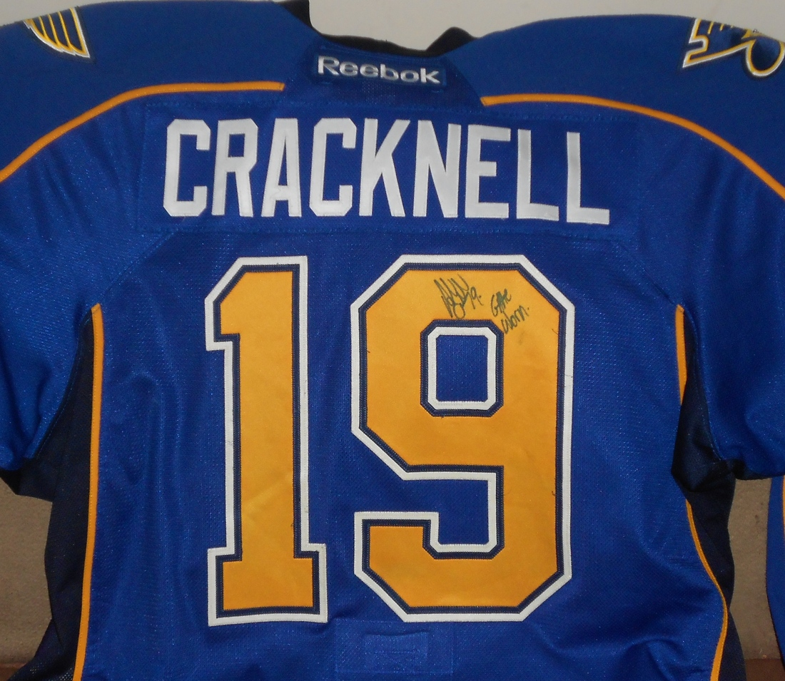 2011 game worn Peoria Riverman jersey signed by captain Adam Cracknell