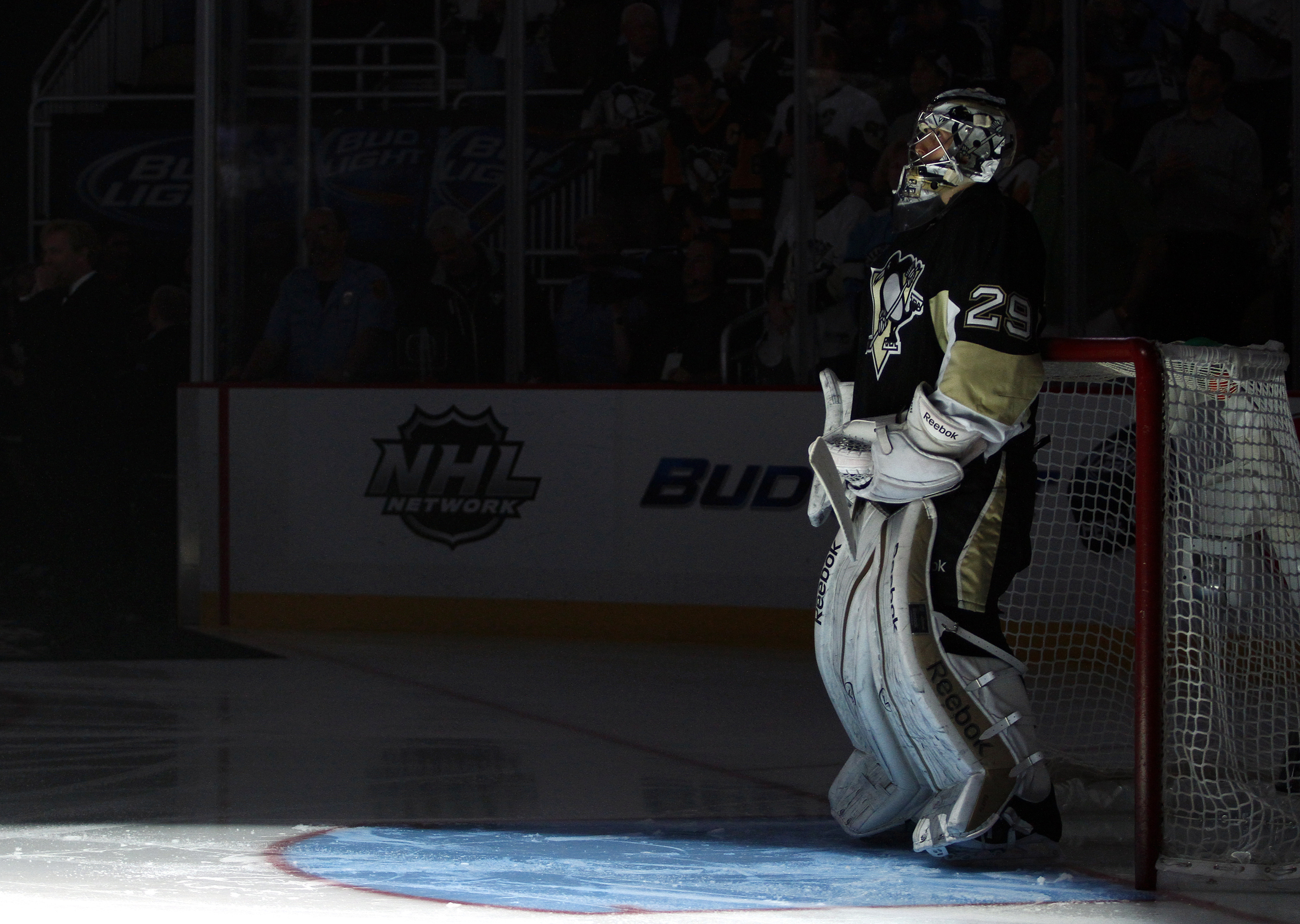 With no action around Fleury's net in Game 1, CONSOL fossil fuel burners shut the lights off in his end as part of their green initiative.