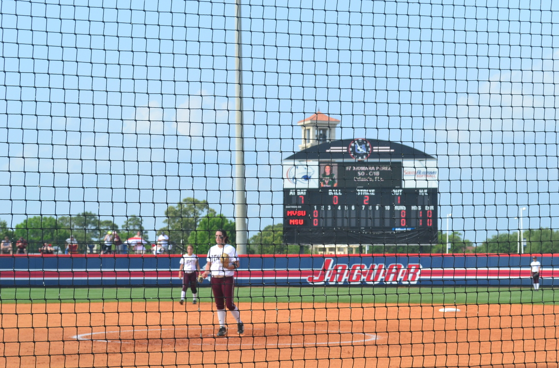 Alison Owen in the circle in the second inning against Mississippi Valley State