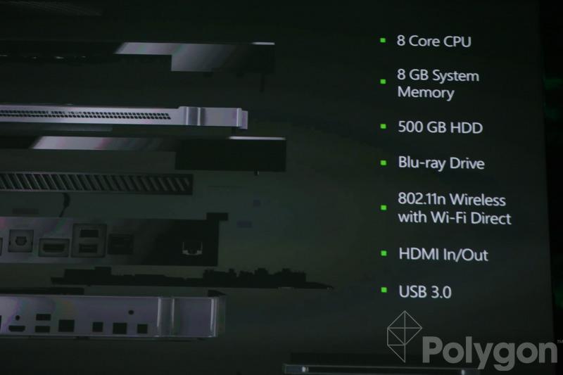 Xbox One specs include 8-core CPU, 8GB RAM, 500GB hard drive, and Blu-ray