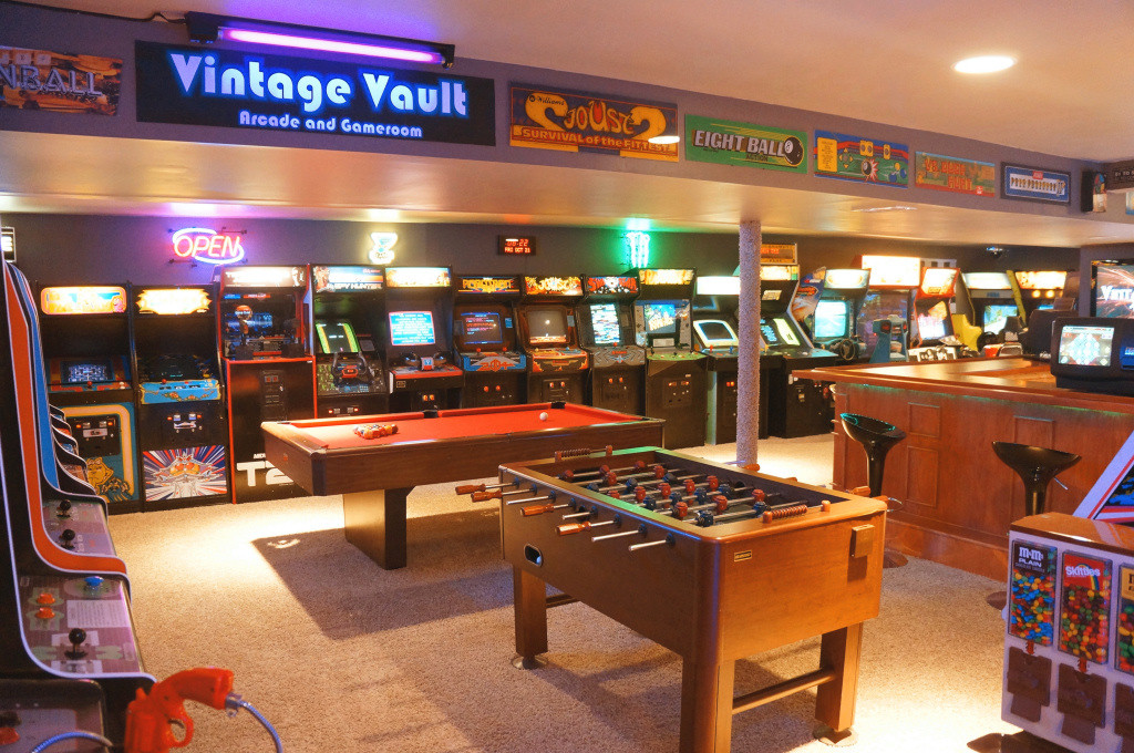 Family builds a free play basement arcade crawling with classic cabinets