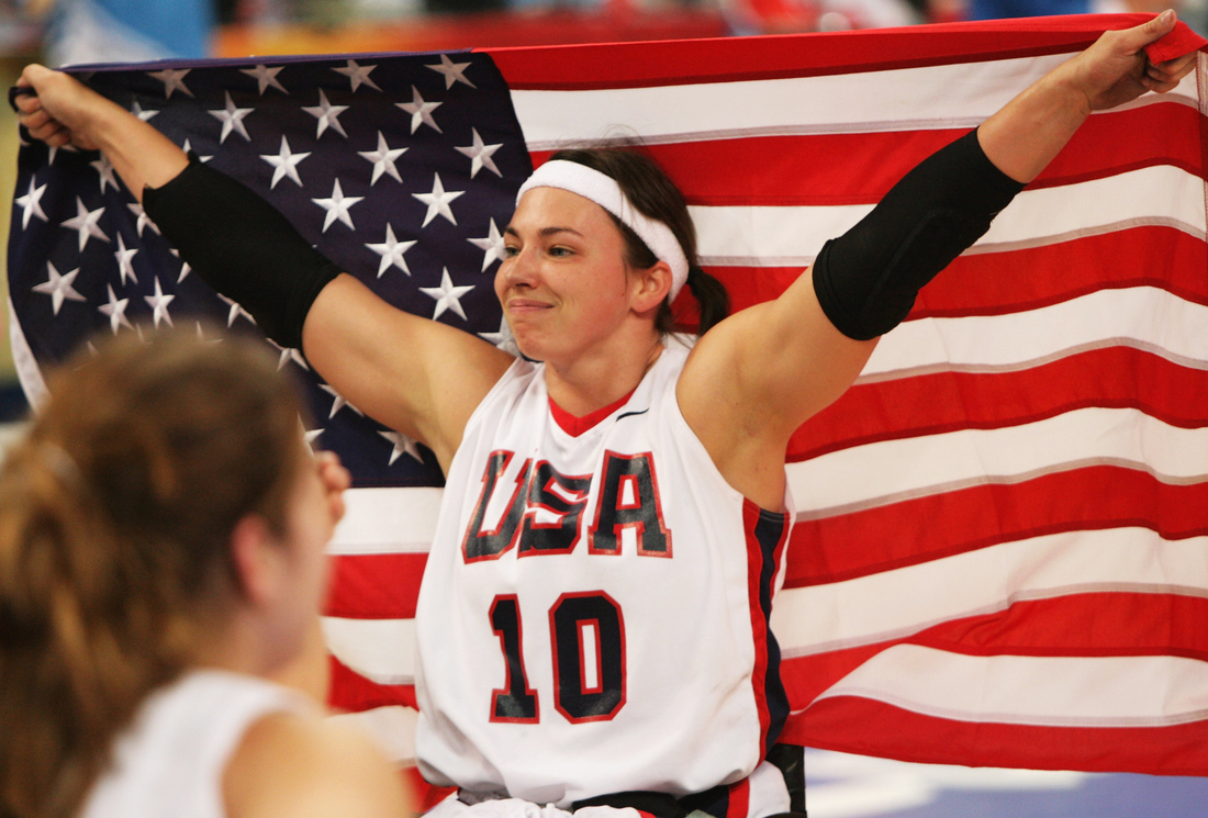 Stephanie Wheeler celebrates winning the Gold medal Wheelchair Basketball match between the United States and Germany at the 2008 Paralympic Games.