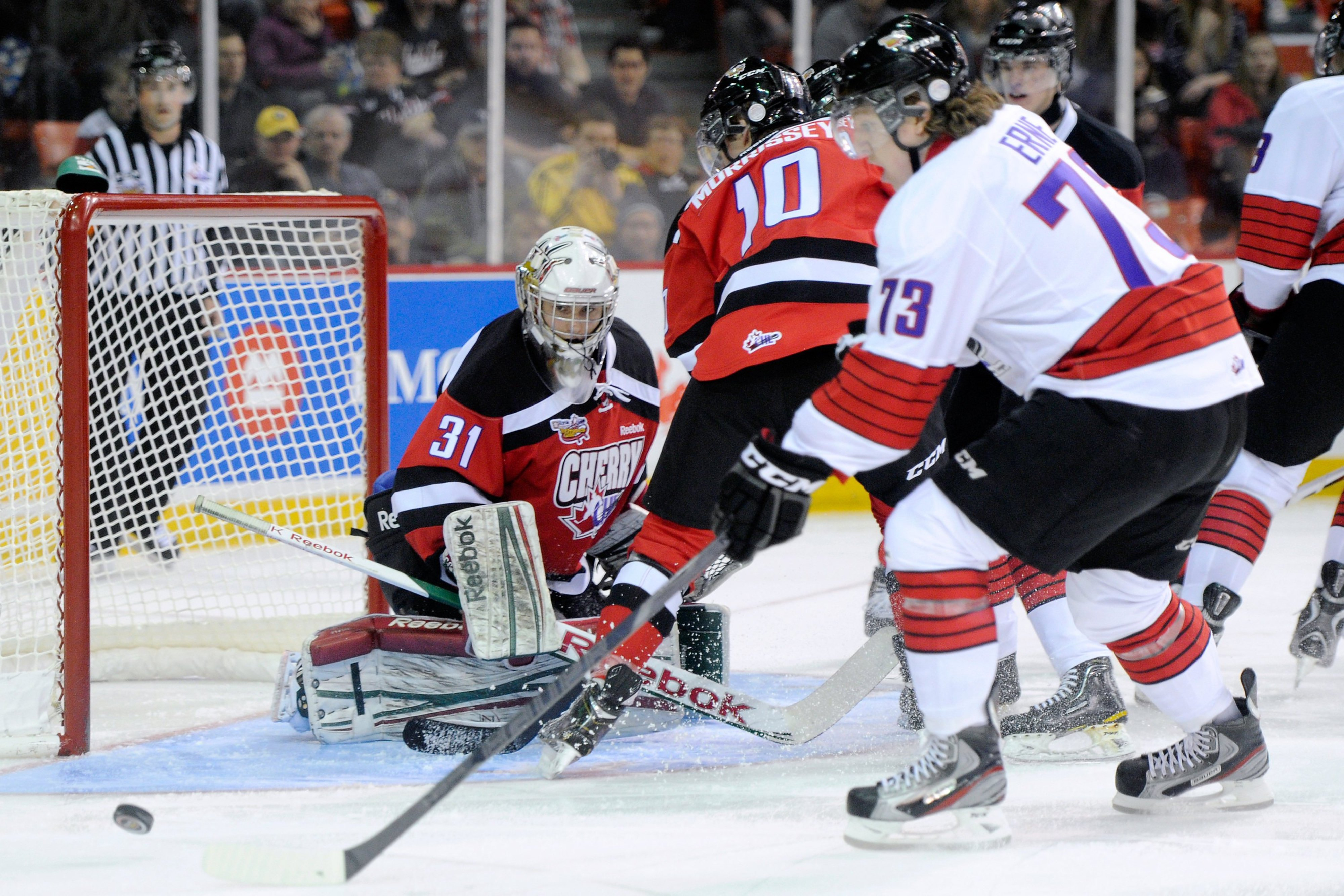 Adam Erne gets behind Josh Morrissey for a scoring chance on Zach Fucale at the CHL Top Prospects Game.  All three players should be on the Canadiens' radar for their first round draft pick in 2013.