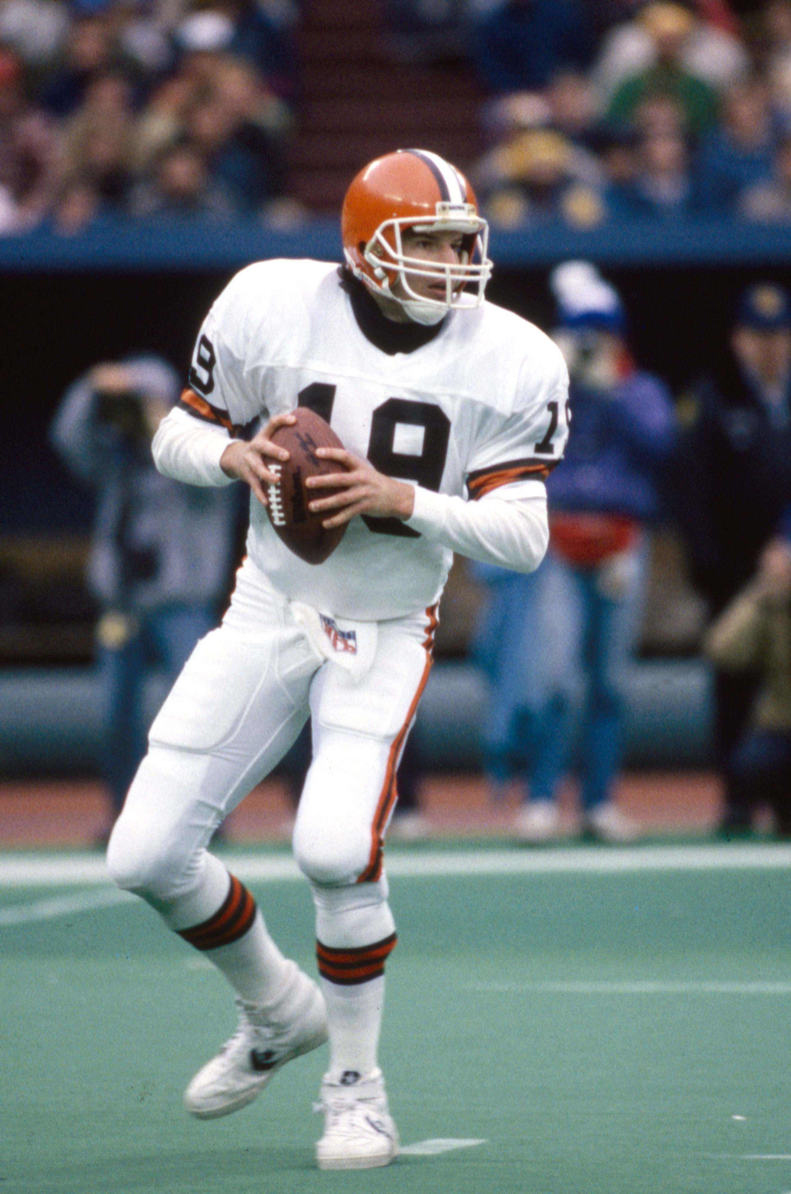THIS GUY quarterbacked the Browns in 1987, the first year the Saints ever made the playoffs.