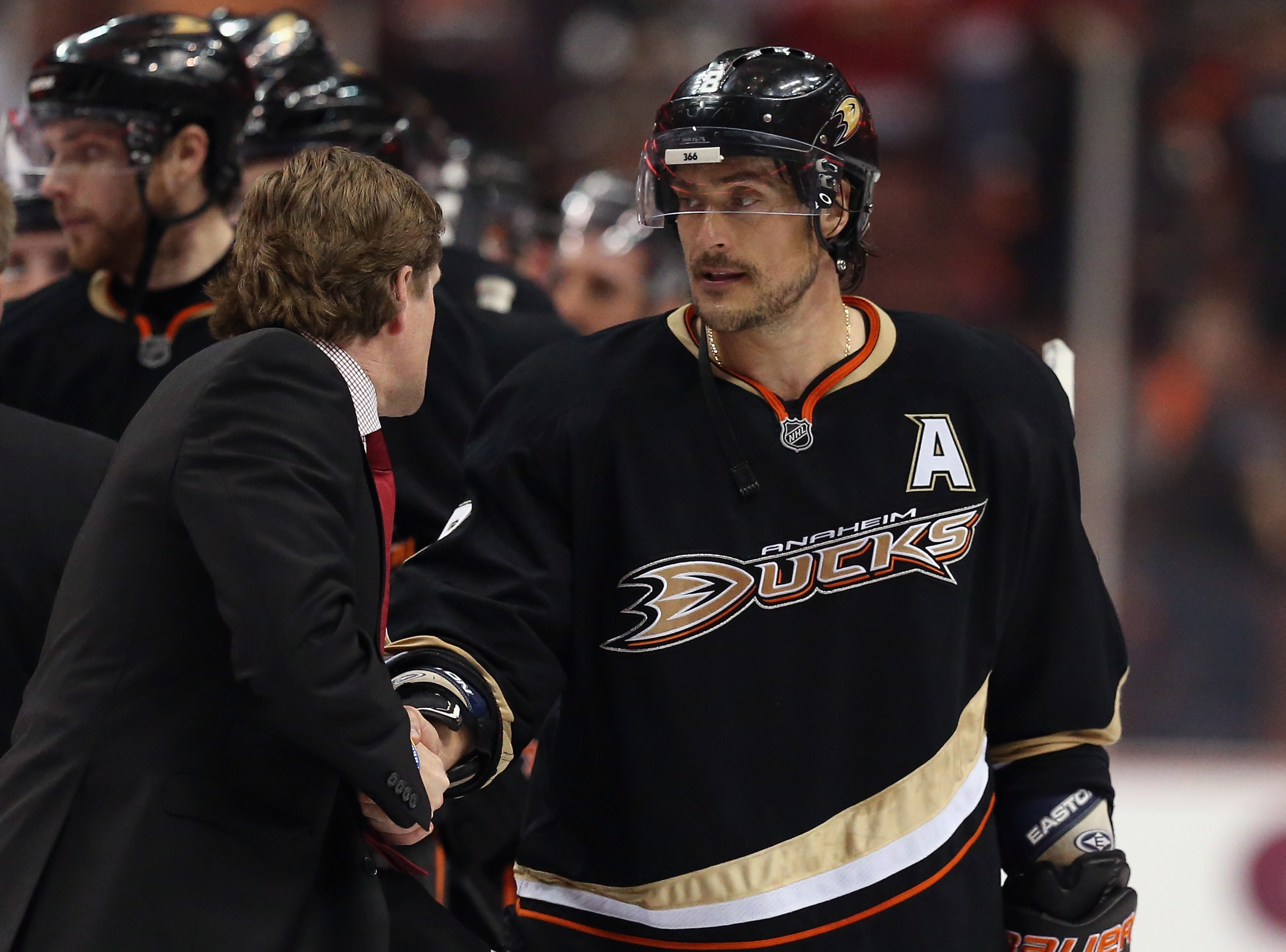 """""""So... see you at my restraunt in July?"""" - Teemu Selanne, shamelessly self-promoting in the handshake line."""