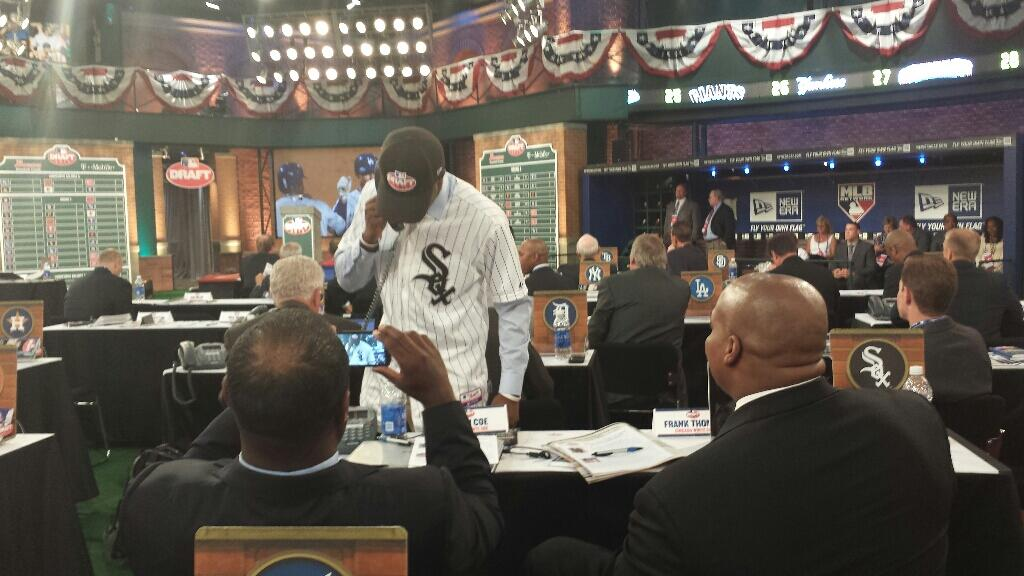 Tim Anderson talks to the White Sox after his selection.