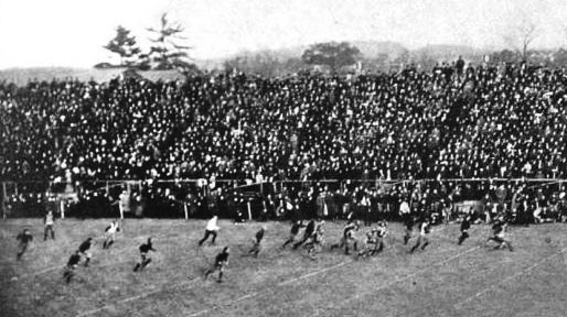 Princeton's John DeWitt runs for a 75-yard blocked field goal return in the victory over Yale in 1903.