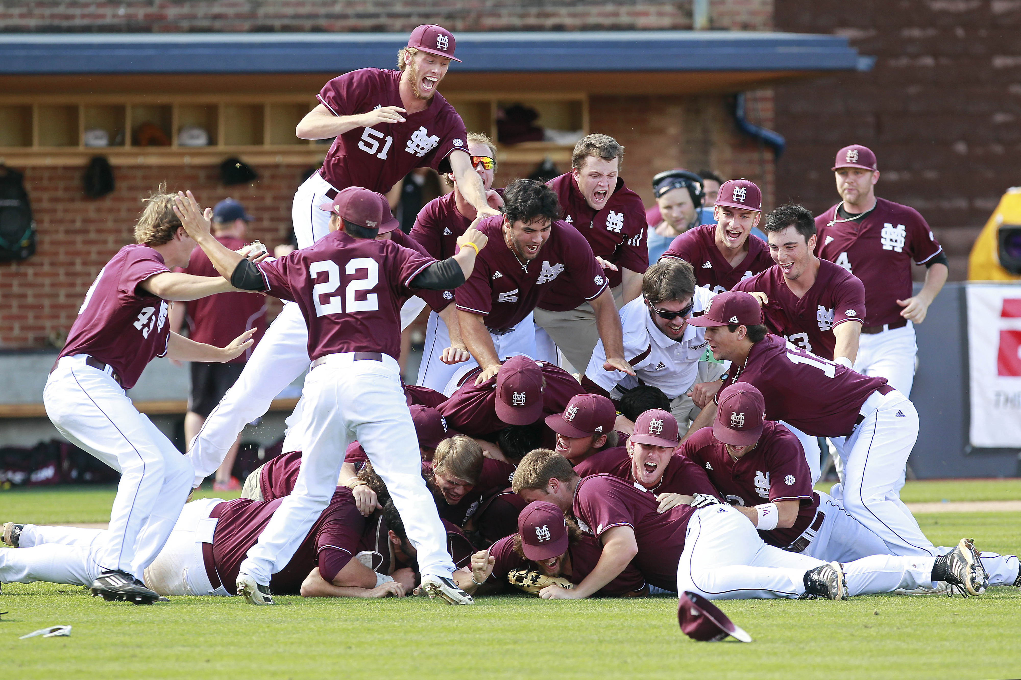 The Mississippi State Bulldogs and seven other teams dogpiled before heading to Omaha.