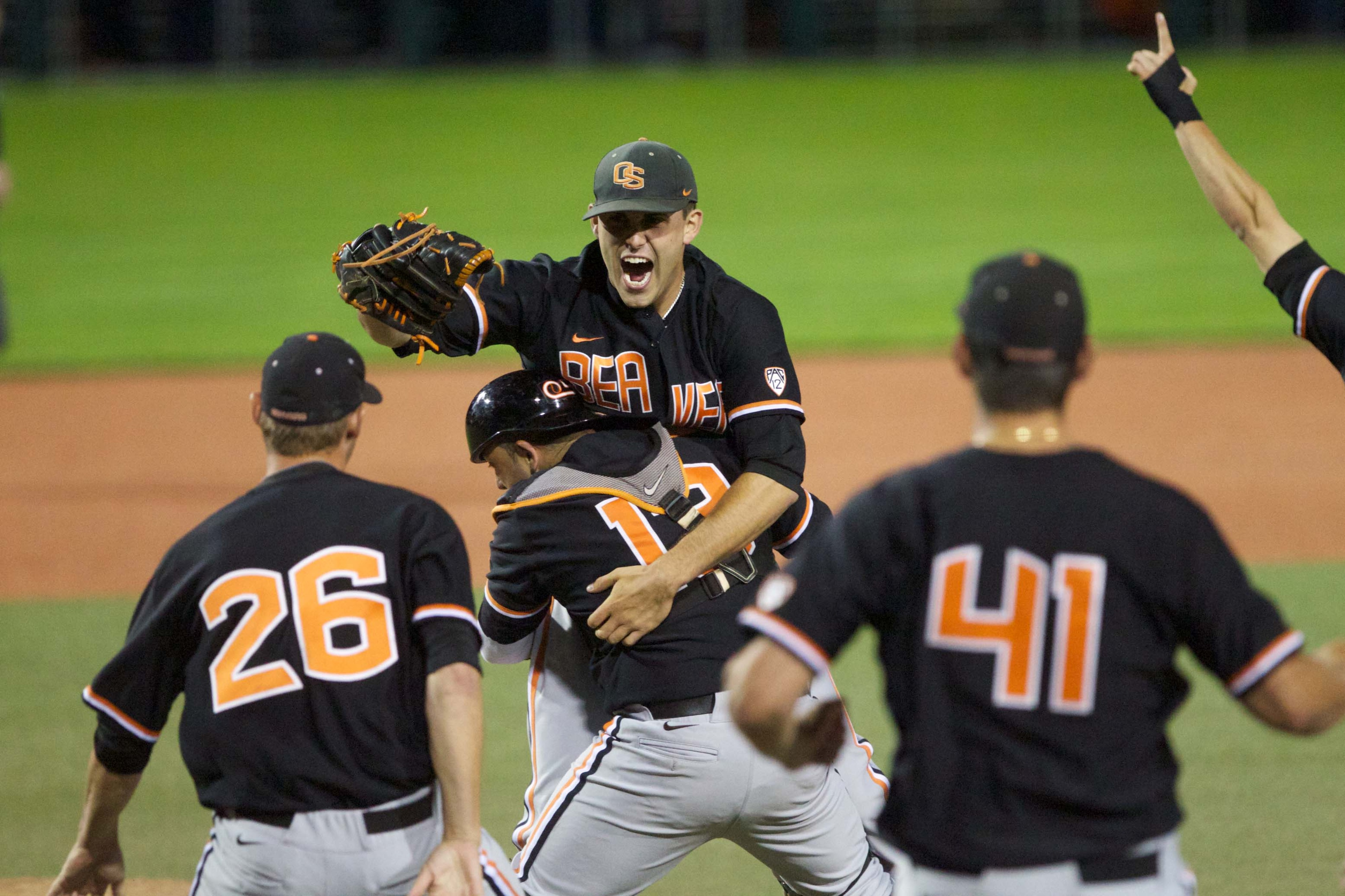 Jake Rodriguez is the one giving a bear hug