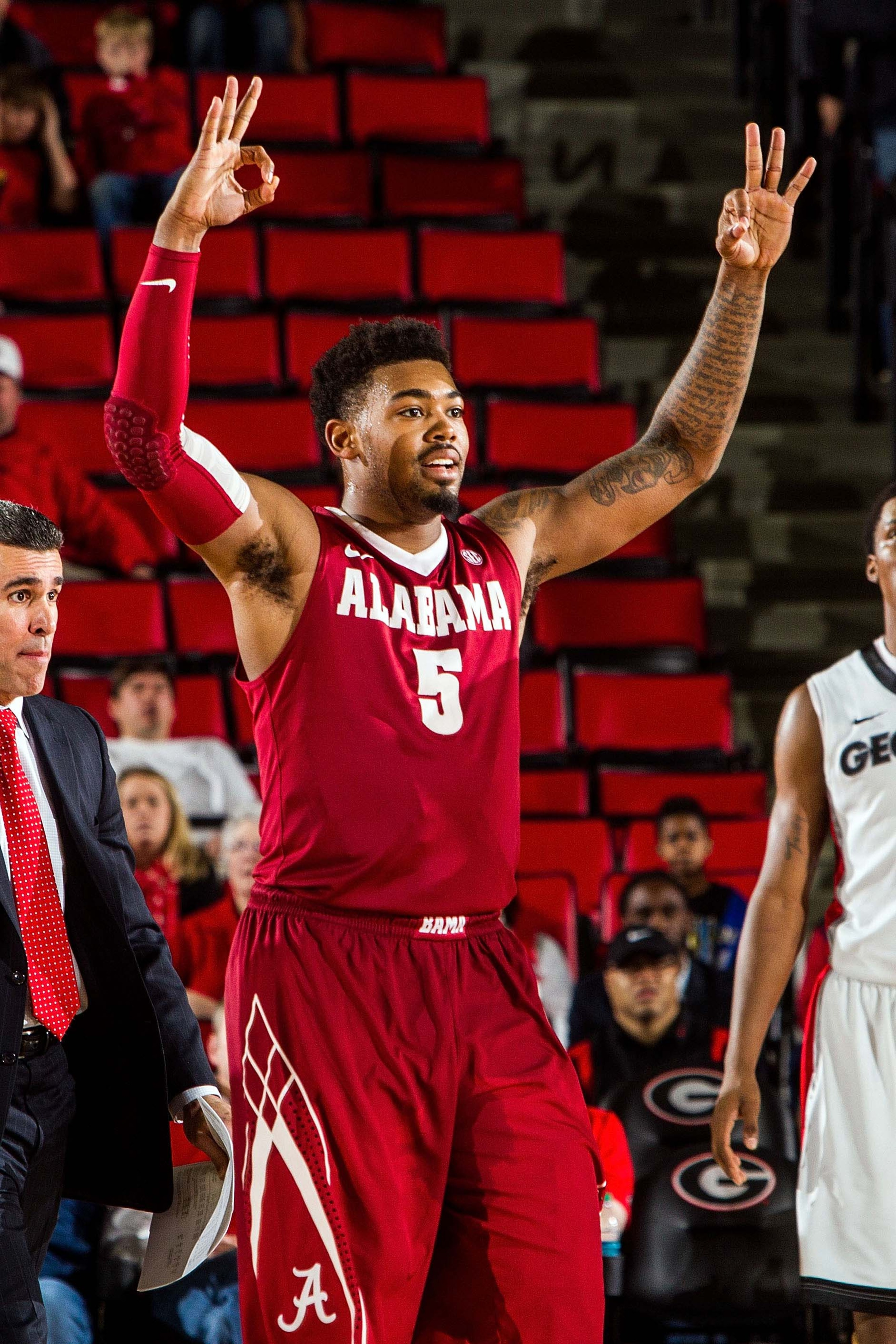 Trevor Lacey led Alabama in 3-pointers made and assists last season.