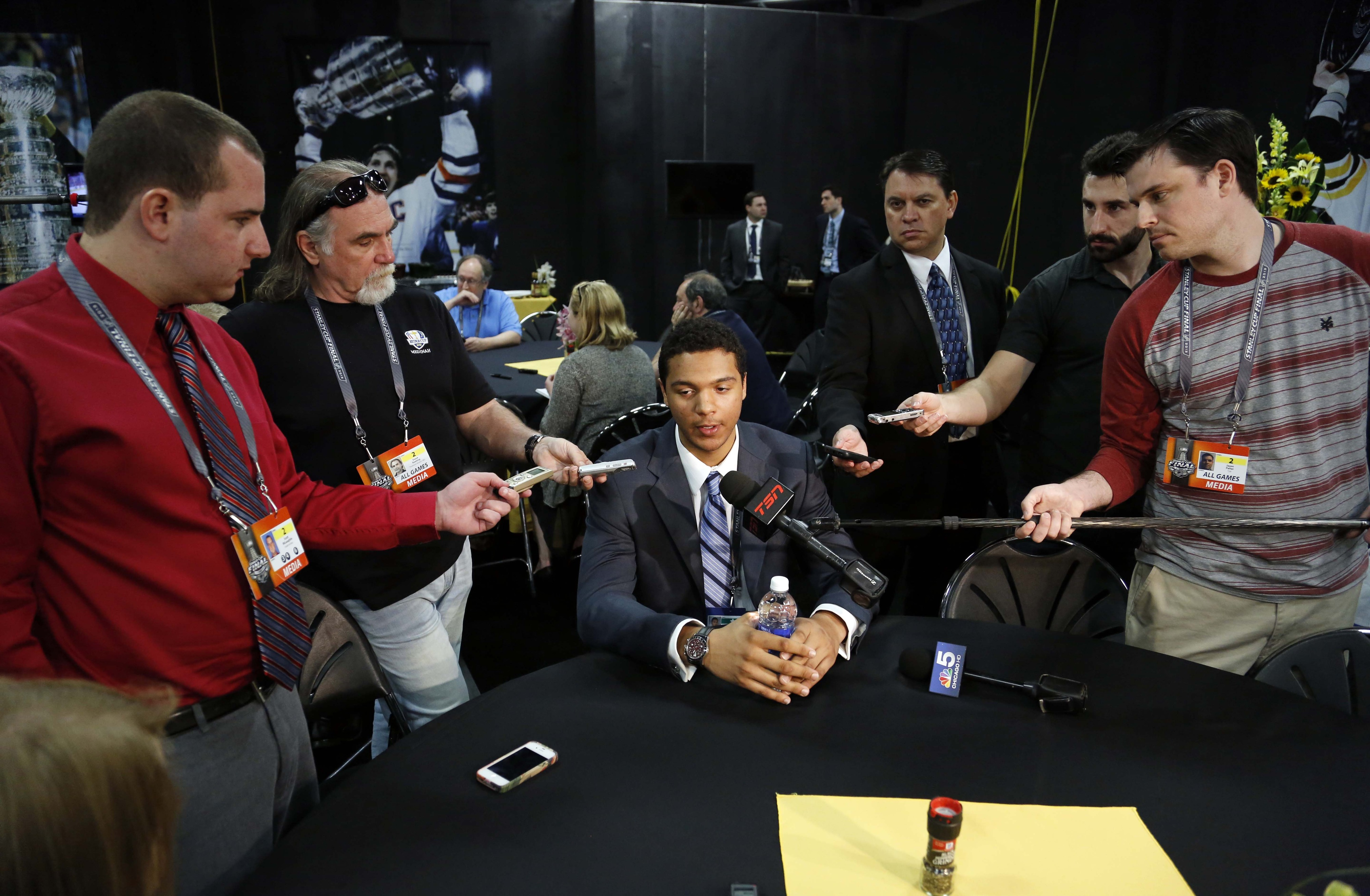 Seth Jones is interviewed during a press conference for top prospects for the upcoming 2013 NHL Draft at TD Garden.