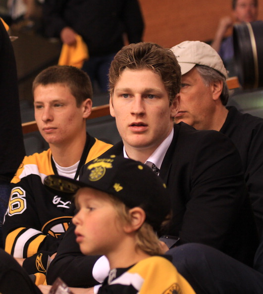 BOSTON, MA - JUNE 17: Nathan MacKinnon watches the game between the Chicago Blackhawks and the Boston Bruins in Game Three of the Stanley Cup Final at the TD Garden on June 17, 2013 in Boston, Massachusetts.