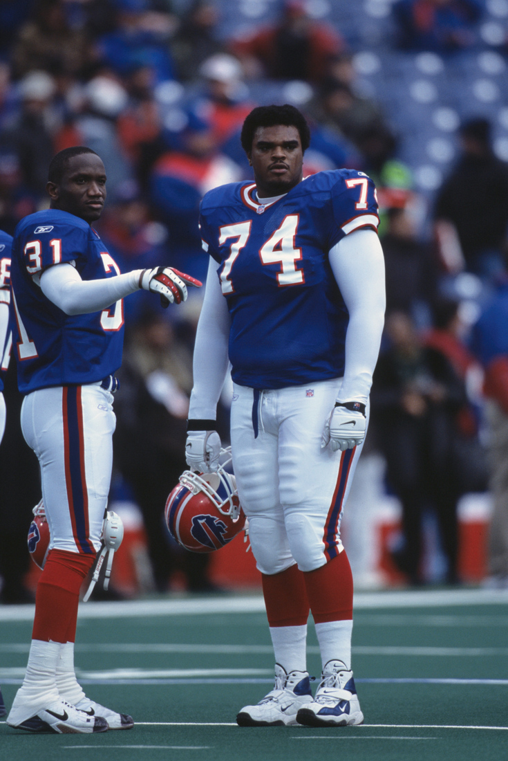 9 Dec 2001: This is a close up of Marques Sullivan #74 of the Buffalo Bills and his teammate Lance Brown #31. It was taken during the NFL game against the Carolina Panthers at Ralph Wilson Statium in Orchard Park, New York.